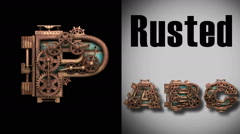 Stock Video Footage of rendered with alpha matted mode loop rusted metal mechanical letter p