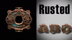 Stock Video Footage of rendered with alpha matted mode loop rusted metal mechanical letter o