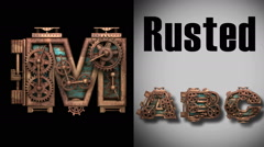 Stock Video Footage of rendered with alpha matted mode loop rusted metal mechanical letter m