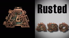 Stock Video Footage of rendered with alpha matted mode loop rusted metal mechanical letter a
