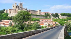Beziers and bridge in a spring day time lapse Stock Footage
