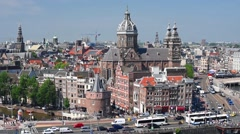 Old buildings in the center of Amsterdam Stock Footage