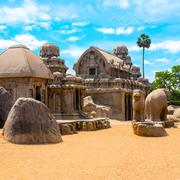 ancient Hindu monolithic Indian rock-cut architecture Pancha Rathas - Five Ra - stock photo