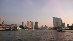 Sunset over Chao Praya river in Bangkok Stock Footage