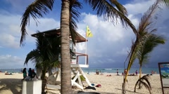 Lifeguard house at the beach of Playa del Carmen Stock Footage