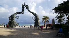 Playa del carmen mermaid statue - stock footage