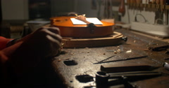 Violin maker Cine 4k _1 Stock Footage