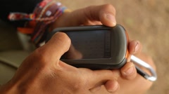 Handling GPS device. Search a saved route Stock Footage
