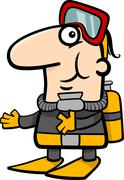 scuba diver cartoon illustration - stock illustration