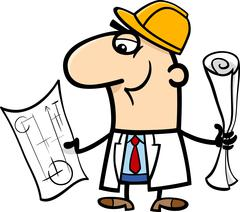 engineer cartoon illustration - stock illustration