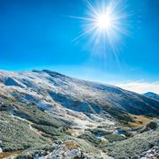 Landscape with snow in mountains Stock Photos