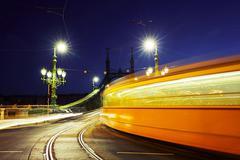 Tram on Liberty Bridge (Freedom Bridge) in Budapest, Hungary Kuvituskuvat
