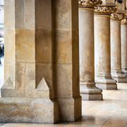 Passage of the gothic hall with columns - stock photo