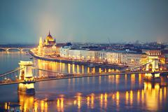 Amazing twilight with The Szechenyi Chain Bridge and Parliament in Budapest - - stock photo