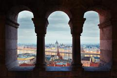 Amazing view on Parliament form Fisherman's Bastion - Hungary Stock Photos