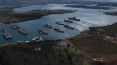 Zoom-in on ships in Pearl Harbor. Shot in 2010. Stock Footage