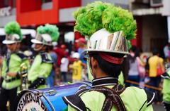 Band musicians play bass drum - stock photo