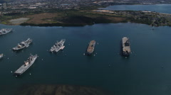 Over ships in Pearl Harbor. Shot in 2010. Stock Footage
