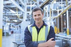 Portrait confident worker in factor Stock Photos