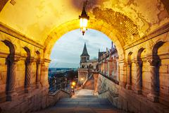 Fisherman's Bastion - dawn in Budapest, Hungary Stock Photos