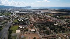 Flying over Honolulu Airport toward Diamond Head, Hawaii. Shot in 2010. Stock Footage