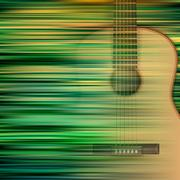 abstract background with acoustic guitar - stock illustration