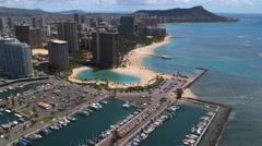 Flying along Waikiki Beach and resort area. Shot in 2010. Stock Footage