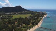 Diamond Head and Oahu coastline. Shot in 2010. Stock Footage