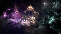 Alien Space Station in Planetary Nebula Clouds in Galaxy 2 - stock footage