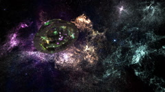 Alien Space Station in Planetary Nebula Clouds in Galaxy 3 - stock footage