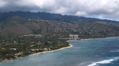 Over Waialae-Kahala coastline, Hawaii. Shot in 2010. Stock Footage