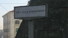Signpost of Viale Della Rimembranza in Trieste Stock Footage