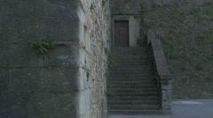 Old wooden door of Castle of Saint Giusto, Trieste Stock Footage