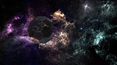 Alien Space Station in Planetary Nebula Clouds in Galaxy 5 - stock footage