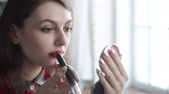young woman red lips and lipstick - stock footage
