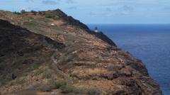 Approaching Makapu'u Point lighthouse, Oahu. Shot in 2010. Stock Footage