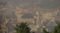 A tower and buildings of Trieste seen from Castle of Saint Giusto Stock Footage
