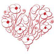 Poppy flowers heart shape - stock illustration