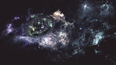 Alien Space Station in Planetary Nebula Clouds in Galaxy 13 stylized - stock footage