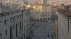 Piazza Carlo Goldoni with cars seen from the Giant Stairway of Trieste Stock Footage