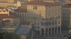Old building in Piazza Carlo Goldoni seen from the Giant Stairway of Trieste Stock Footage