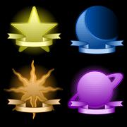Celestial icons - stock illustration