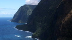 Flying up the Molokai coastline. Shot in 2010. Stock Footage