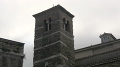 View of San Silvestro Church's tower in Trieste Stock Footage