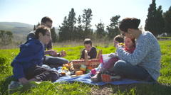 A family with four children having a picnic in nature - stock footage
