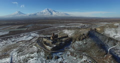 Khor Virap Monastery panorama at sunrise in front of Ararat Mountain, Armenia Stock Footage