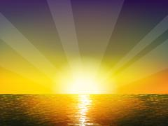 Sunrise on the sea - stock illustration