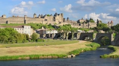Carcassone in a summer day Stock Footage