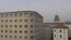View of Trieste City Hall's tower and the Inail building Stock Footage