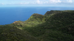 Over forested hills and cliffs at the edge of Molokai's coast. Shot in 2010. Stock Footage